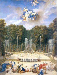 « Le bosquet du Théâtre d'Eau était, à l'origine, le plus abouti, composé d'une multitude de fontaines dont les effets d'eau jouaient avec les architectures végétales et les treillages » - © château de Versailles, Dist. RMN-Grand Palais, JM Manaï