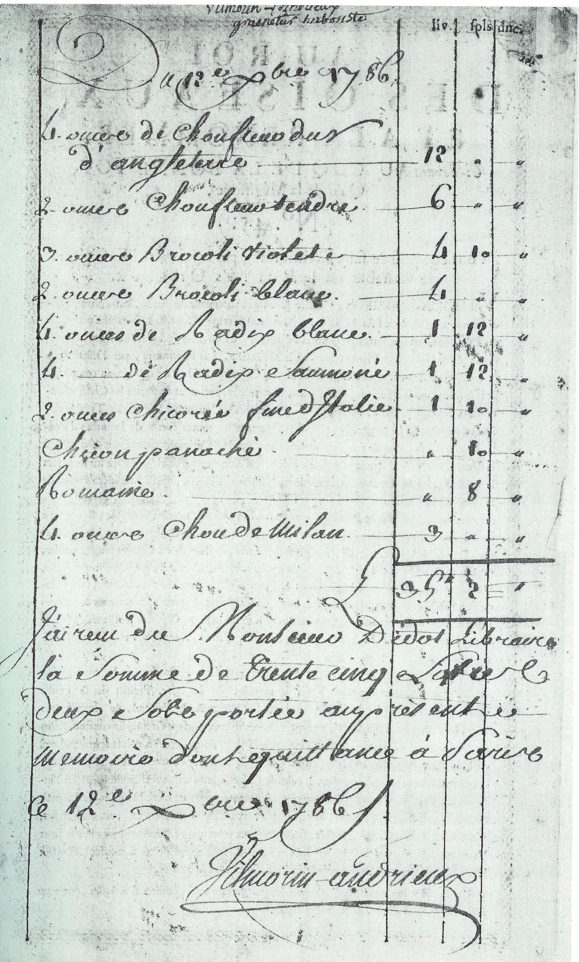 Facture de chou-fleur, chou, radis et chicorée, en date de 1786 - © D.R.