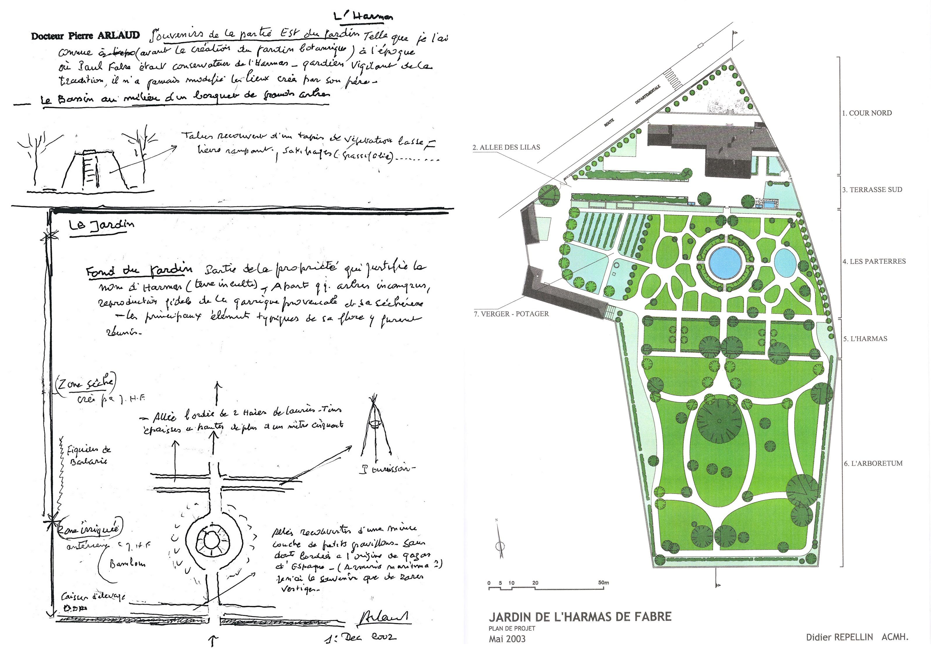 Le docteur Pierre Arlaud a retranscrit sur le papier les souvenirs qu'il avait du jardin, ce qui a contribué à sa restitution- © D.R (à gauche) Le plan d'ensemble du jardin réalisé à partir des divers éléments reconstitués - © D.R. (à droite)