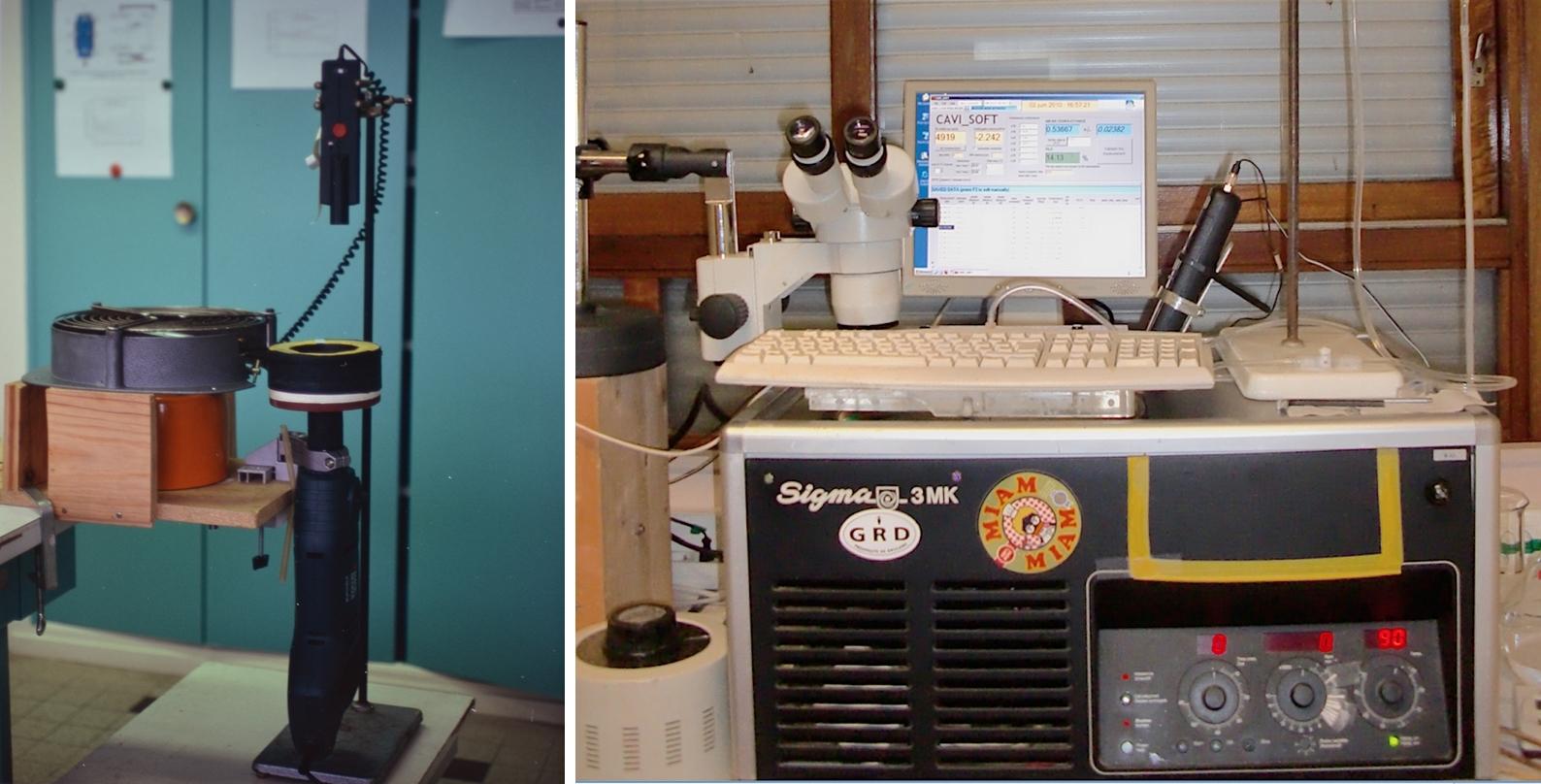 """Figure 1. A gauche le premier prototype de Cavitron issu des laboratoires de l'INRA de Clermont-Ferrand (© H. Cochard). A droite, le premier Cavitron """"sécurisé"""" développé à partir d'une centrifugeuse à l'INRA de Bordeaux - © S. Delzon)."""