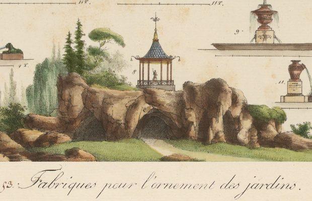 Gravure tirée de l'ouvrage de Gabriel Thouin « Plans raisonnés de toutes les espèces de jardins » représentant différents « ornements » de jardin dont une grotte surmontée d'un kiosque.