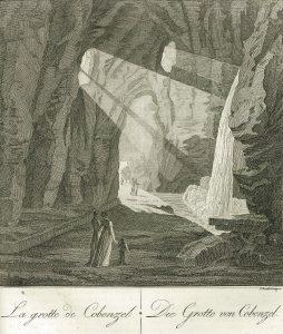 Gravure représentant la grotte de Cobenzel en Autriche tirée de l'ouvrage de Gabriel Thouin « Description des principaux parcs et jardins de l'Europe »
