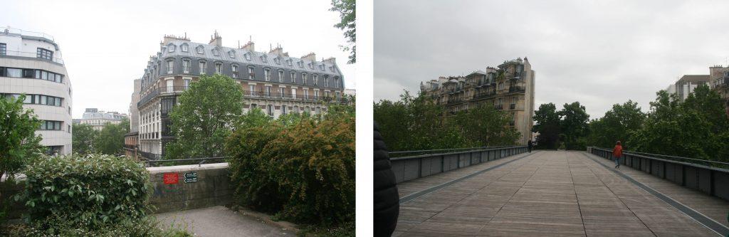 Des « trouées » doivent être conservées pour permettre au passant de contempler les perspectives sur la ville, à gauche le long du parapet, ou à droite sur le pont qui enjambe l'avenue Ledru-Rollin.