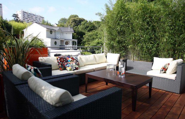 Terrasse avec du bambou