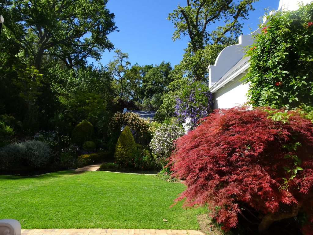 Le jardin côté sud alliant feuillages colorés et arbustes fleuris - © J.-F. Coffin
