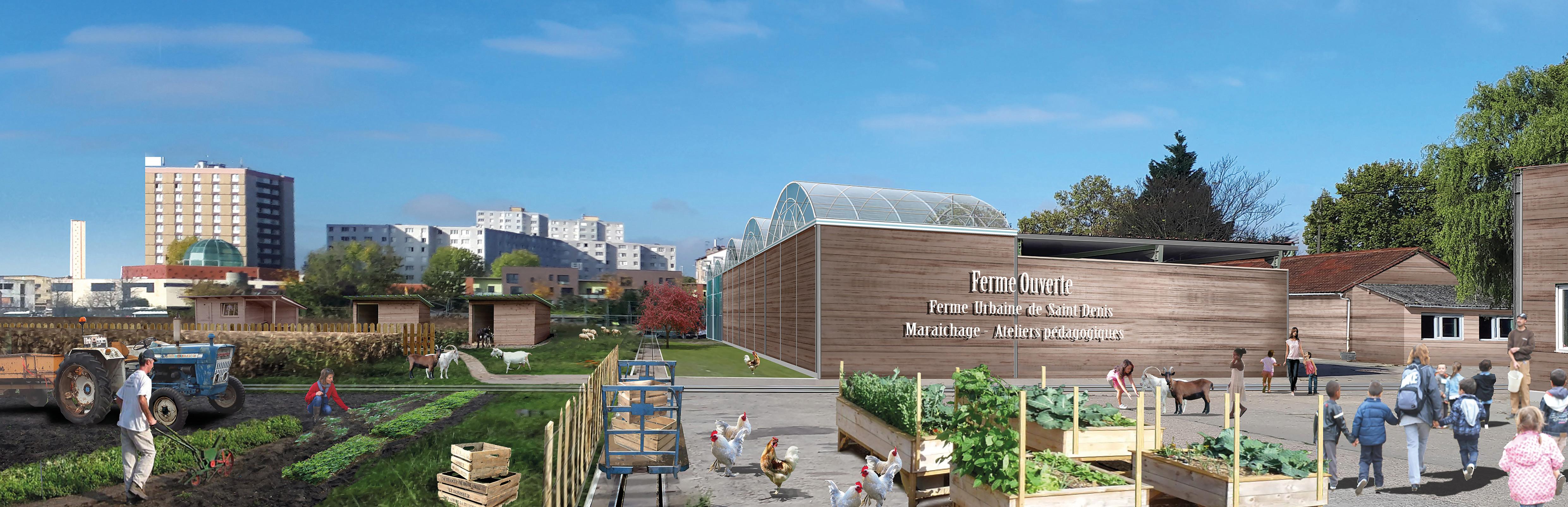 La Ferme urbaine de Saint-Denis (93) accueille, depuis le printemps 2018, une ferme ouverte, la production de cultures maraîchères et un espace de vente directe - © groupe Gally