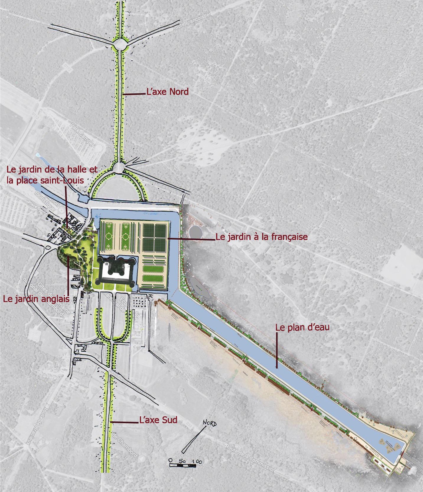 Le plan masse permet de situer le domaine : à gauche, la ville, puis le jardin anglais et, enfin, le château et le jardin à la française - © D.R.